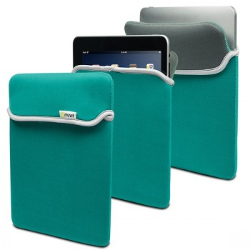 muvit Reversible Neoprene Case, for iPad 4, 3 & 2 Turquoise/Grey
