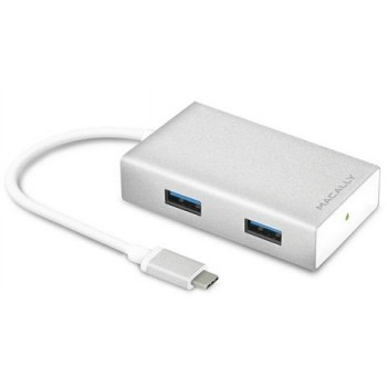 Macally UC3HUB, USB-C 3.1 Hub with 4 Ports, 10 cm cable, white