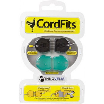 Innovelis CordFits, for iPod & iPhone earbuds, Black/Green